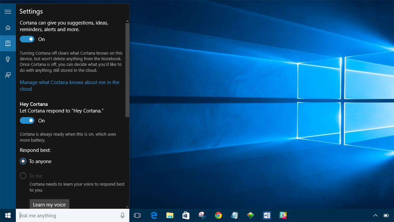 Screenshot della schermata di Windows 10 con attiva Cortana