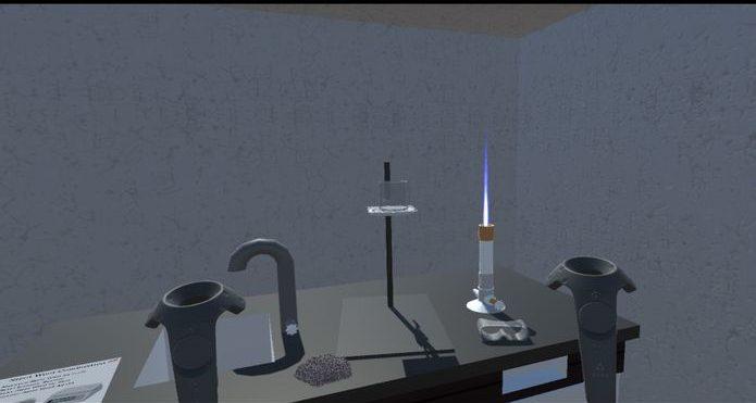 Chemistry Lab VR, immagine in soggettiva dell'esperienza immersiva VR