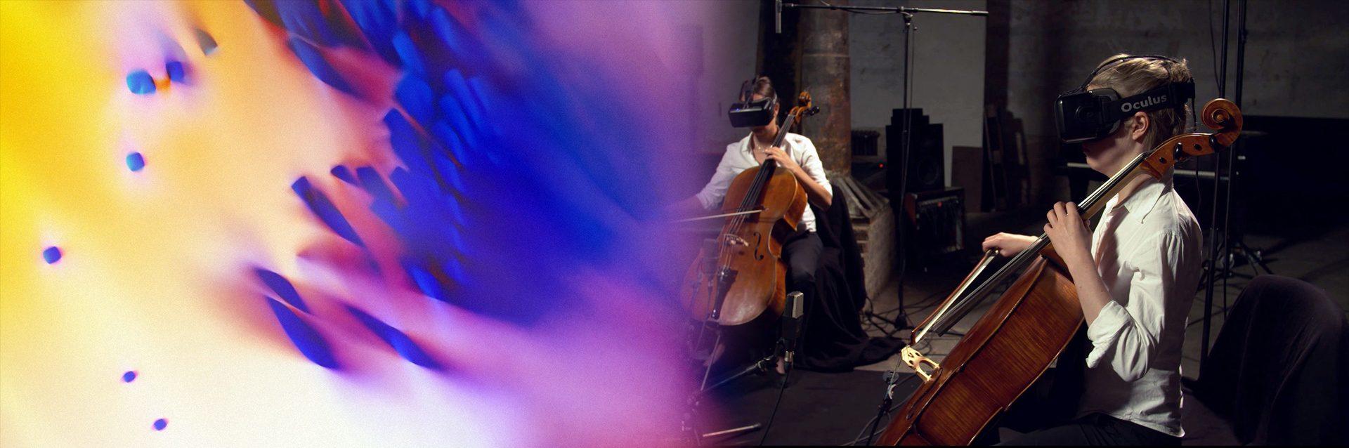 Dettaglio di Collide, l'installazione artistica di Onformative, e i due violoncellisti mentre registrano la colonna sonora.