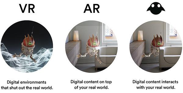 Rappresentaizone grafica di Magic Leap, in cui il loro logo rappresenta la MR (mixed reality). Immagine: Alizila.